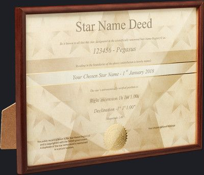 Star Name Certificate